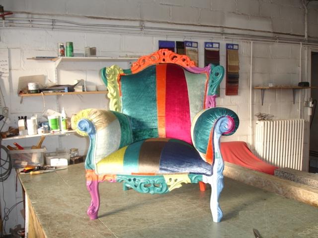 fauteuil de style-patchwork-tapissier moderne  JPLECOMTE Tapisserie